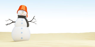 Snowman on the beach, а 3D rendering Stock Photos