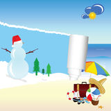 Snowman and beach stuff vector Royalty Free Stock Image