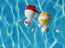 Snowman beach vacation Royalty Free Stock Photography