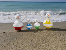 Snowman beach vacation Stock Photos