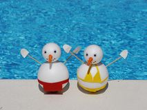 Snowman beach vacation Stock Image