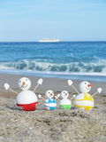 Snowman beach vacation Stock Photo