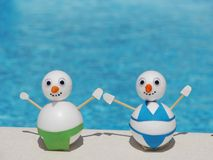 Snowman beach vacation Royalty Free Stock Images