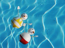 Snowman beach vacation. Holidays from cold winter Stock Photos