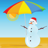 Snowman on the beach vector illustration Stock Photography