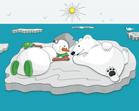 Snowman and bear tan on ice floe Royalty Free Stock Photography