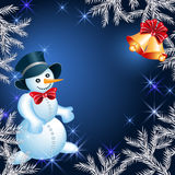 Snowman and bells Royalty Free Stock Photo