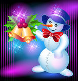 Snowman and bells Royalty Free Stock Photos
