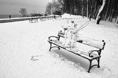 Snowman on the bench. Stock Photography