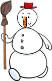 Snowman with besom cartoon illustration Stock Images