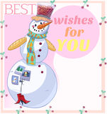 Snowman Best Wishes Stock Photography