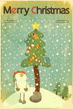 Snowman and big Christmas tree stock images
