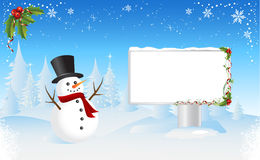 Snowman with Bilboard. Vector illustration, all elements are editable Royalty Free Stock Images