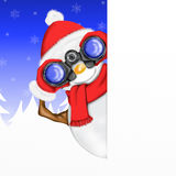 Snowman with binoculars and mountain backdrop Stock Image