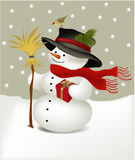 Snowman with bird Stock Image