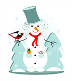 Snowman with bird. In forest Stock Images