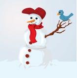 Snowman and bird Stock Photography