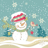 Snowman and Bird. Cute Snowman with singing Bird in his hand Royalty Free Stock Images