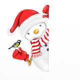 Snowman and bird Stock Image