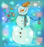 Snowman with bird, cute backcground. Snowman with bird, cute background for Christmas or New Year design Vector Illustration