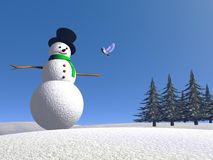 Snowman and bird - 3D render Royalty Free Stock Photo