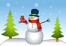 Snowman Bird Friends Stock Photography