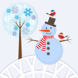 Snowman and birds Royalty Free Stock Photos