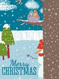 Snowman with birds in garden on greeting Christmas card. vector illustration