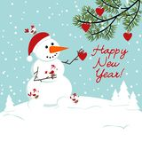 Snowman with birds and heart. Snowman with birds and heart Stock Photo