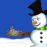 Snowman and Birds Nesting Royalty Free Stock Photos