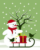 Snowman and birds Stock Image