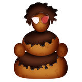 Snowman of biscuits and of chocolate. This snowman made of biscuits. Instead of hair and clothing She had chocolate icing. Instead of his eyes she had the two Stock Images