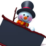 Snowman with black board. 3d illustration  isolated over white background Stock Photo