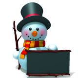 Snowman with black board 3d illustration Stock Images