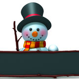 Snowman with black board 3d illustration Stock Photo