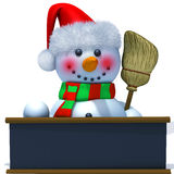 Snowman with black board 3d illustration Royalty Free Stock Image