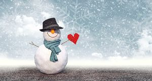Snowman with black hat holding paper heart stock illustration