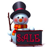 Snowman with black sale board 3d illustration Royalty Free Stock Images