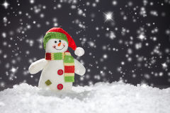 Snowman on black Stock Photo