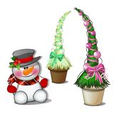 Snowman in black top hat and topiary in the form of a cone Christmas tree with balls. Sketch for greeting card, festive. Poster or party invitations.The Royalty Free Stock Photography