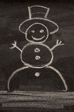 Snowman on blackboard Stock Images