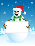 Snowman with blank board Royalty Free Stock Photos