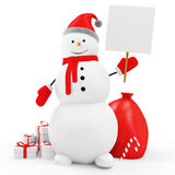 Snowman with Blank Board and Christmas Accessories Stock Photo