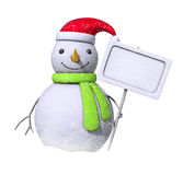 Snowman with a blank board and snow. Snowman holding a blank board with snowflakes Royalty Free Stock Photos