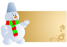Snowman with blank card Stock Photo