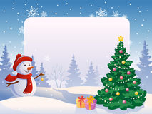 Snowman with a blank placard Stock Images