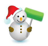 Snowman with blank sign Royalty Free Stock Photography
