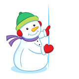 Snowman with blank sign Royalty Free Stock Images