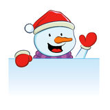 Snowman with blank sign Royalty Free Stock Photo