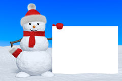 Snowman with blank white board Royalty Free Stock Image